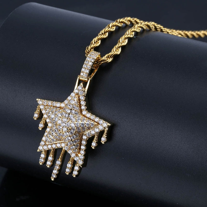 Iced Out Cubic Zircon Bling Drip Star Necklace & Pendant