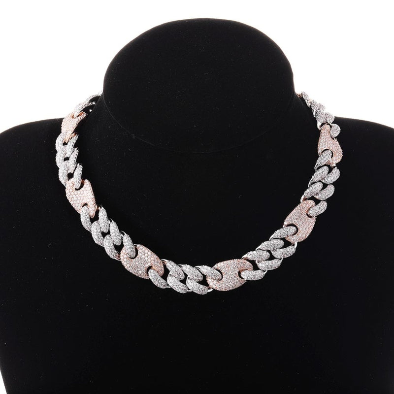 Two Tone Box Clasp Cuban Link Chain Necklace - MajesticVUE