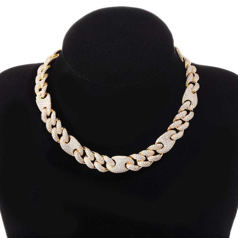 Gold Box Clasp Cuban Link Chain Necklace - MajesticVUE