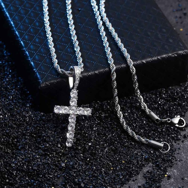 Silver Iced Out AAA Cubic Zircon Micro Cross Pendant - MajesticVUE