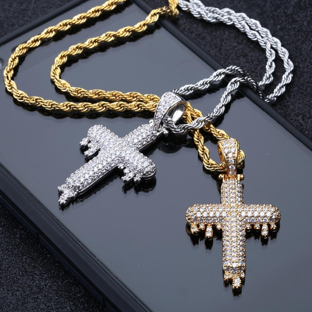 Hip Hop Religious Drop Cross Pendant