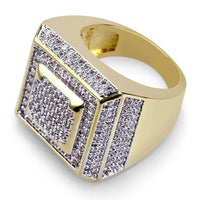 Plated Iced Out Micro Pave Cubic Zircon Square Rings  For Men