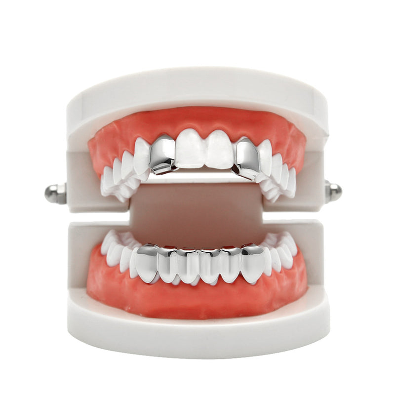 Hip Hop Silver Plated Teeth Grillz - MajesticVUE