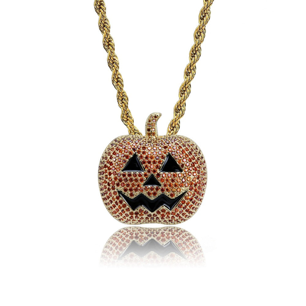 Gold Blace Gun Iced Out Cubic Zircon Pumpkin Pendant
