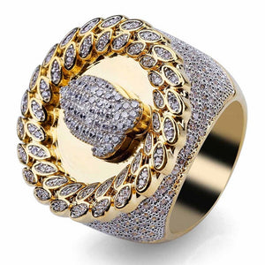 Copper Gold Color Plated Micro Paved Stone Ring For Men
