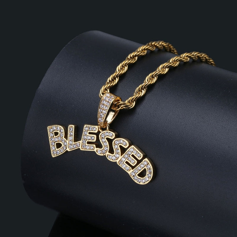 Gold Bubble Letters BLESSED Necklace & Pendant - MajesticVUE