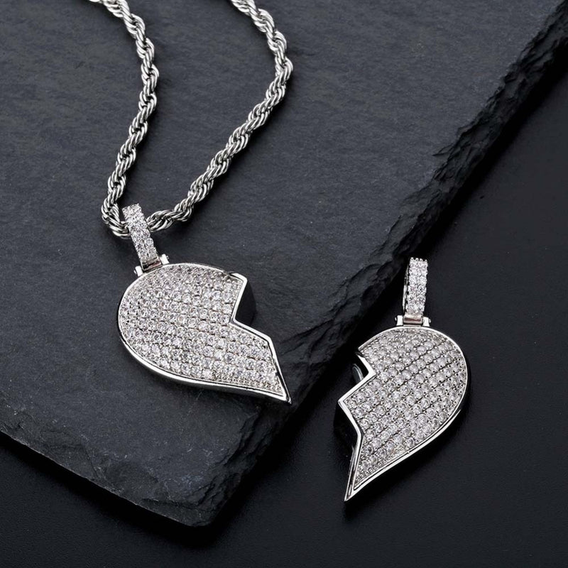 Heart Broken With Magnet Iced Out Pendant