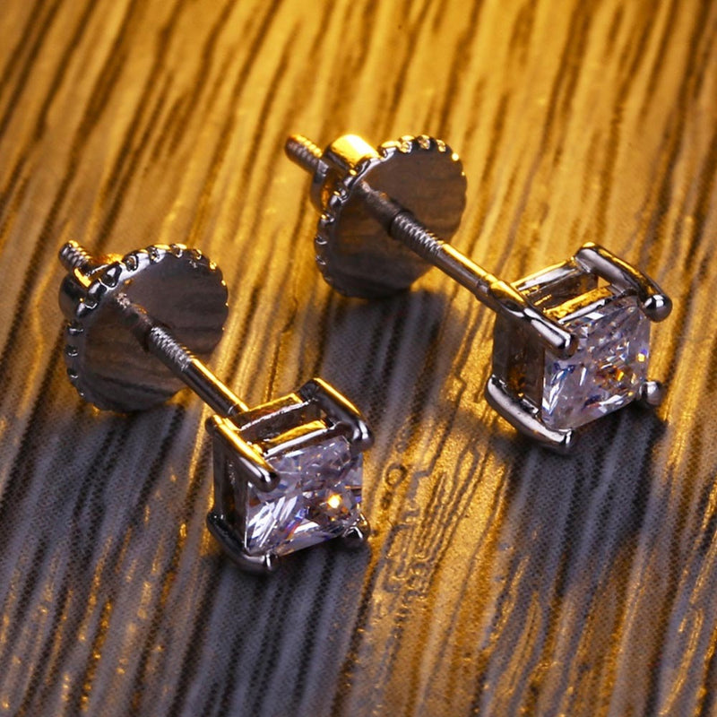 Micro Pave CZ Stone Iced Out Stud Screw back Earrings - MajesticVUE