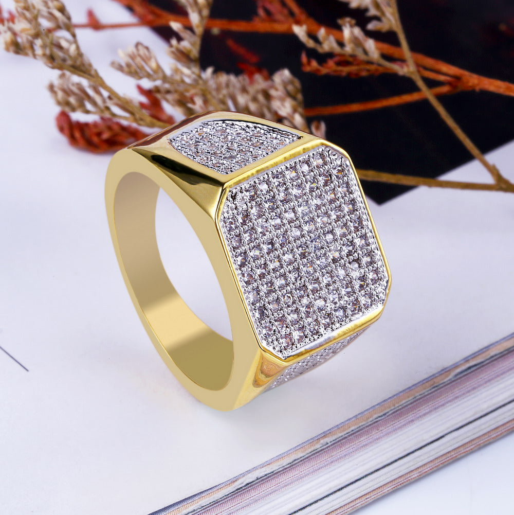 Micro Pave Cubic Zircon Ring All Iced Out For Men