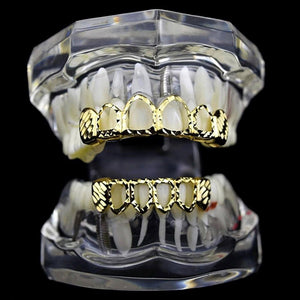 Gold D-Cut Top & Bottom Teeth 6 Open Grillz - MajesticVUE