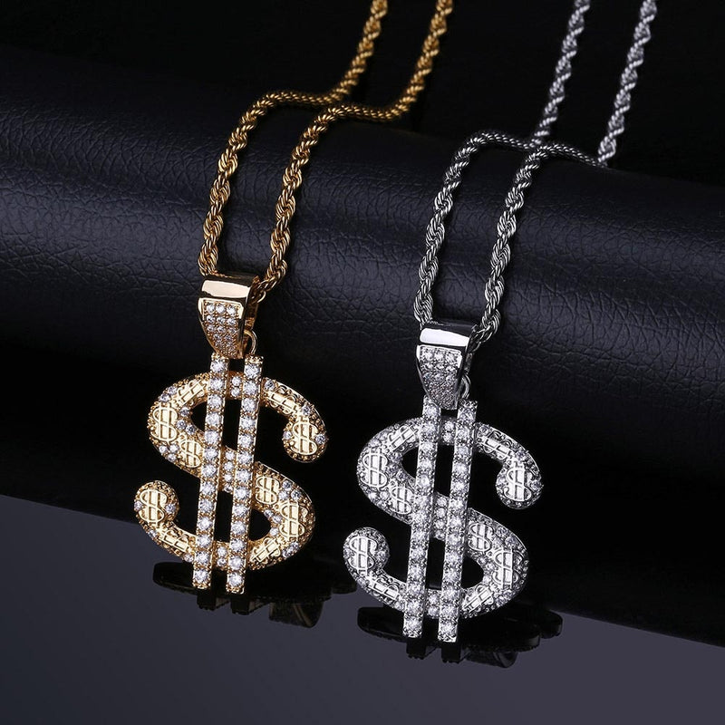 Iced Out  Dollar Letter Pendant