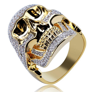 Copper Gold Color Skeleton Head Ring Charm For Men Gifts