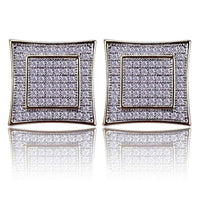 Micro Pave Cubic Zircon Lab D Stud Earrings - MajesticVUE