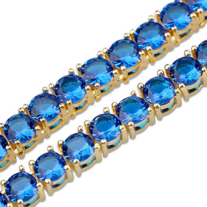 Gold Rock Blue & Red CZ Tennis Chain Necklace - MajesticVUE