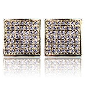 Iced Out Micro Pave Square Earring With Screw Back - MajesticVUE