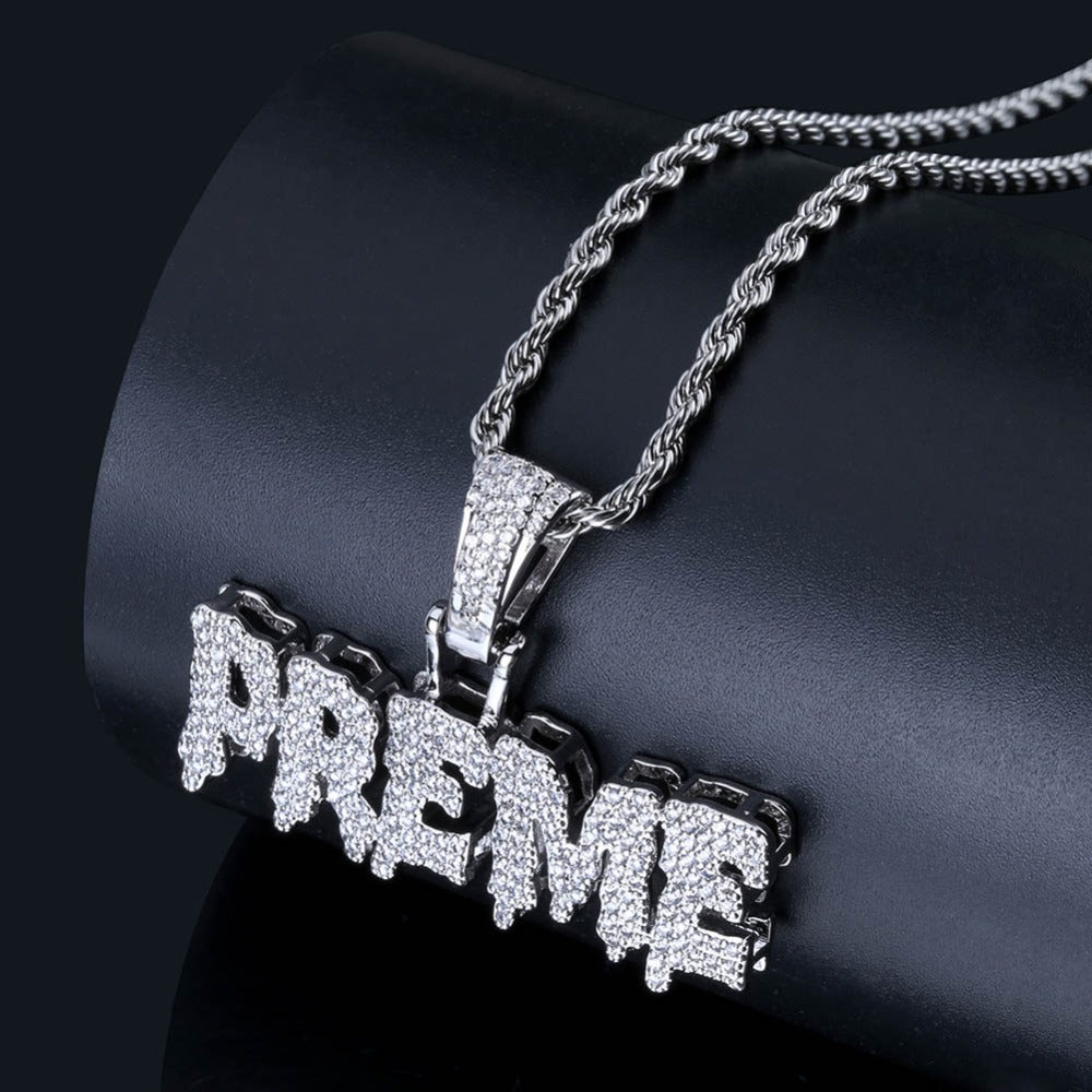 Hip Hop Iced Out Bling Cubic Zircon PREME Pendant
