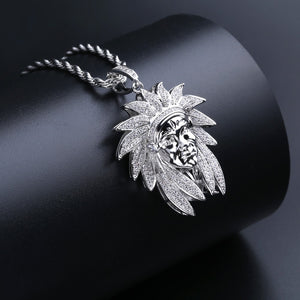Silver Iced Out Bling Cubic Zircon Chief Pendant - MajesticVUE