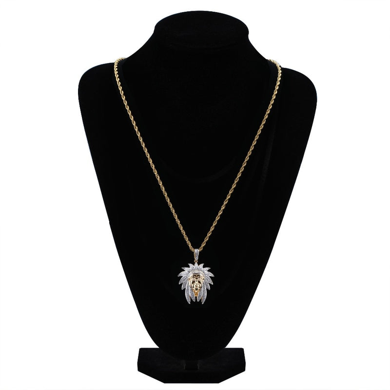 Gold Iced Out Bling Cubic Zircon Chief Pendant - MajesticVUE