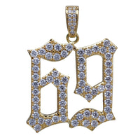 Gold Iced Out 69 Saw Letters Pendant - MajesticVUE