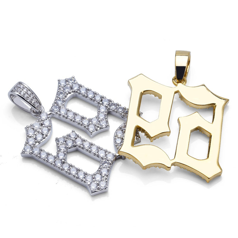 Gold & Silver Iced Out 69 Saw Letters Pendant - MajesticVUE