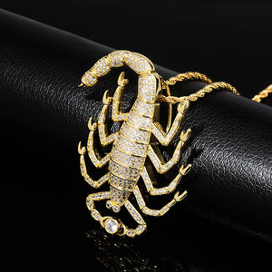 Gold Iced Out Animal Scorpion Pendant - MajesticVUE