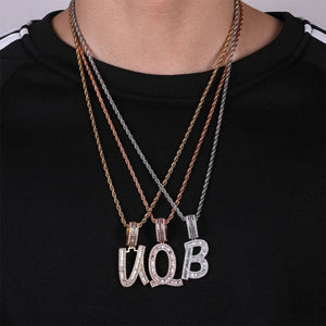 Gold, Silver & Rose Gold Custom Name Baguette Letters Pendant - MajesticVUE