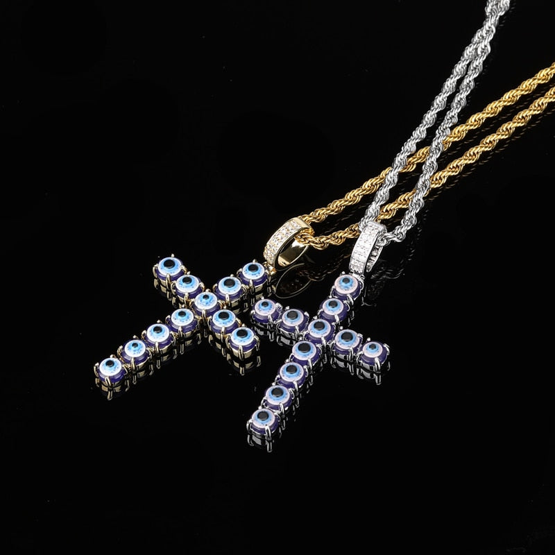 Persian Blue Eye Cross Links Necklace