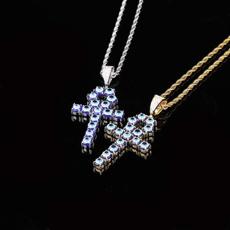Iced Zircon Turkey Blue Eyes Ankh Cross Pendant