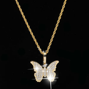 Gold Cubic Zircon Bling Butterfly Necklace & Pendant - MajesticVUE