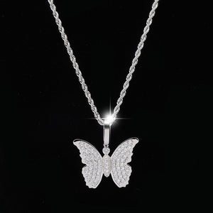 Silver Cubic Zircon Bling Butterfly Necklace & Pendant - MajesticVUE