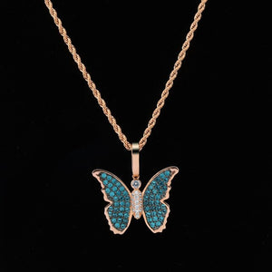 Rose Gold Cubic Zircon Bling Butterfly Necklace & Pendant - MajesticVUE