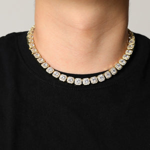 Gold Prong Set Solitaire Tennis Chain Necklace - MajesticVUE