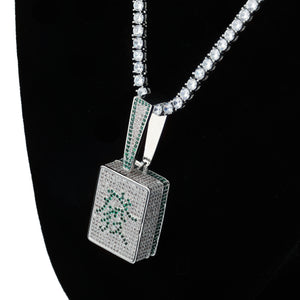 Iced Out Cubic Zircon Bling Chinese Fa mahjong Necklace
