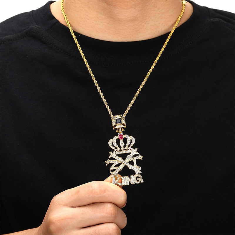 CZ Stone Crown KING Letters Pendant
