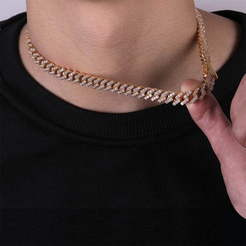 Prong Setting Cuban Link Chain Necklace