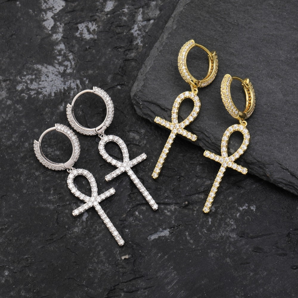 Ankh Cross Gold Silver Color Earrings For Men & Women - MajesticVUE