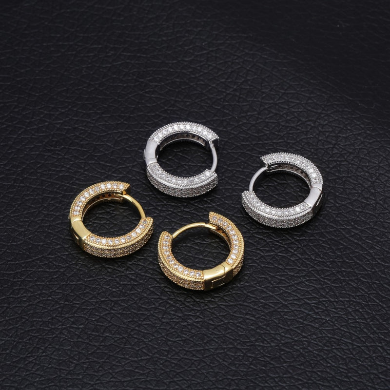 Fully Iced CZ Huggie Round Earrings For Men - MajesticVUE