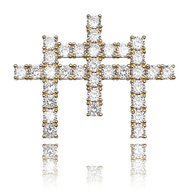 Gold Iced Out AAA Cubic Zircon Triple Cross Pendant - MajesticVUE