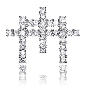 Silver Iced Out AAA Cubic Zircon Triple Cross Pendant - MajesticVUE