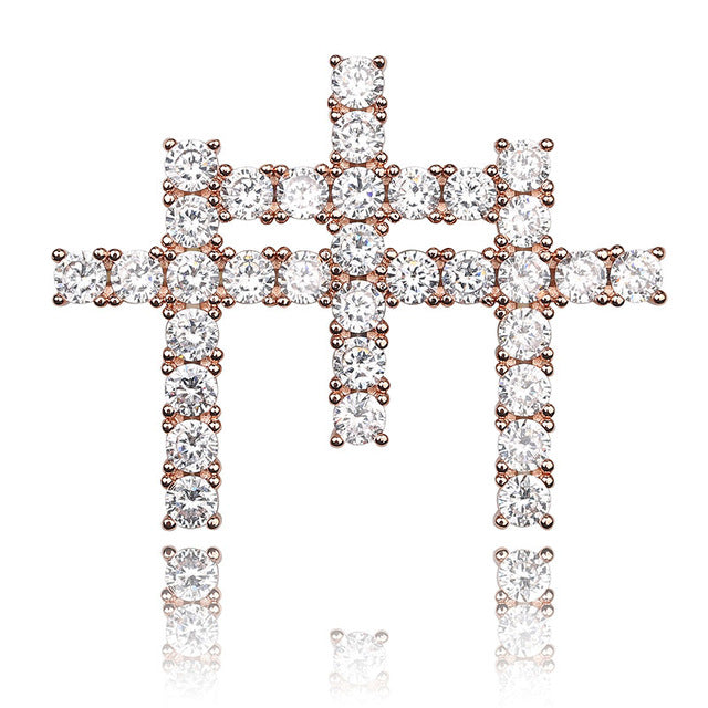 Rose Gold Iced Out AAA Cubic Zircon Triple Cross Pendant - MajesticVUE
