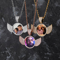 Gold, Rose Gold & Silver Photo With Wings Medallions Necklace & Pendant - MajesticVUE