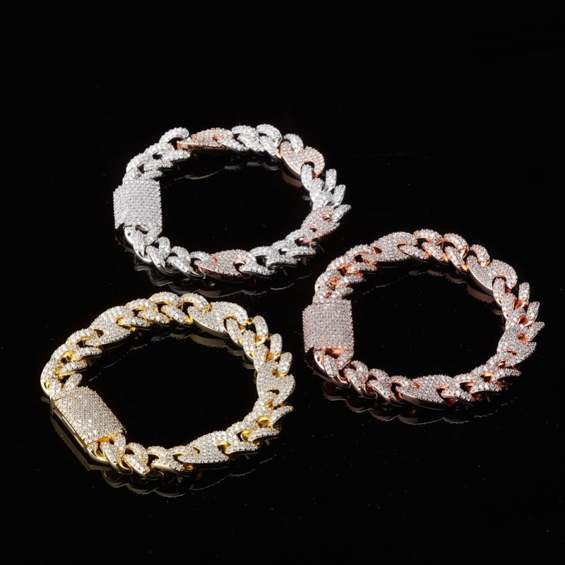 Gold, Rose Gold & Two Tone Box Clasp CZ Miami Cuban Link Bracelet - MajesticVUE