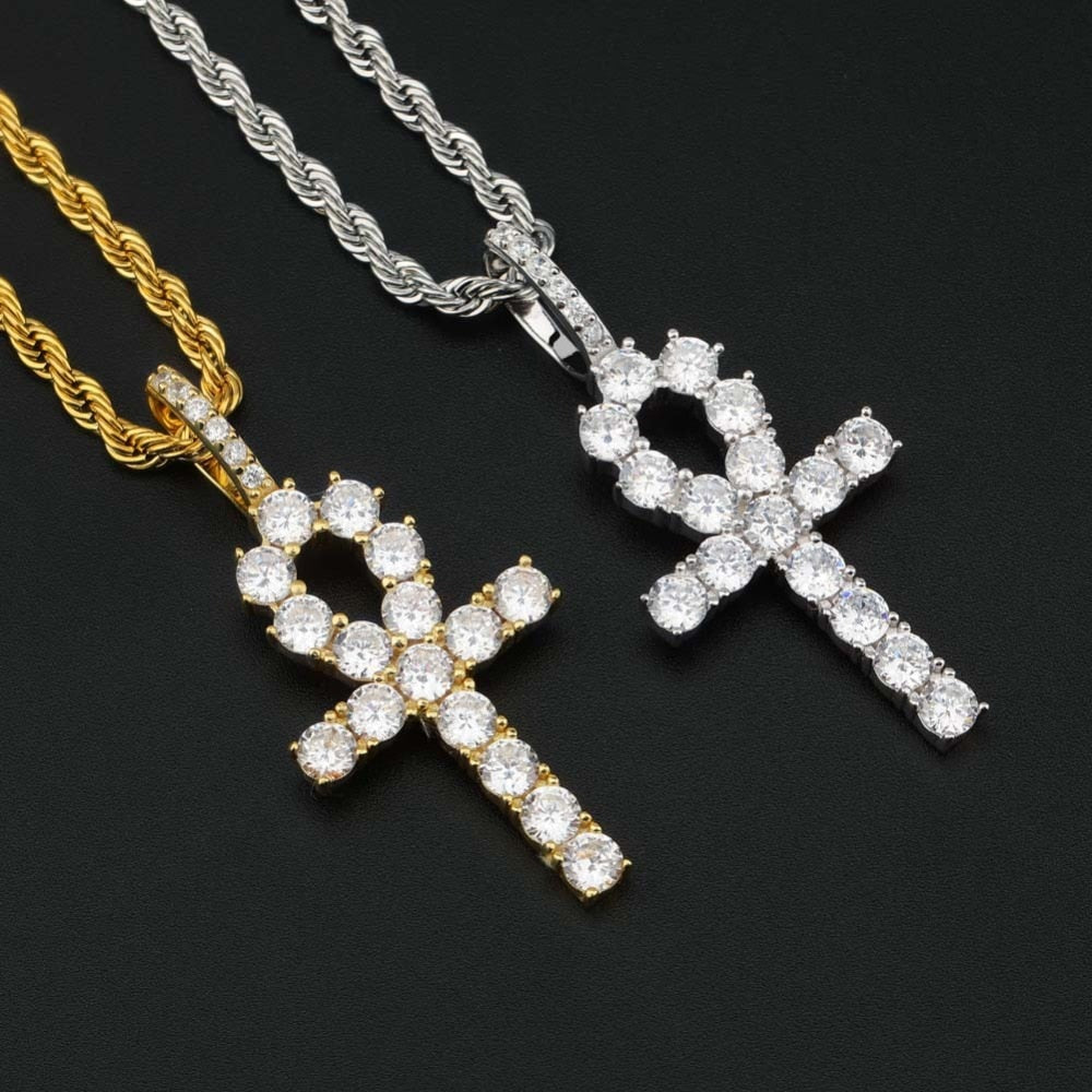 Iced Zircon Ankh Cross Pendant