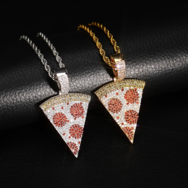 Iced Out Pizza Pendant & Necklace