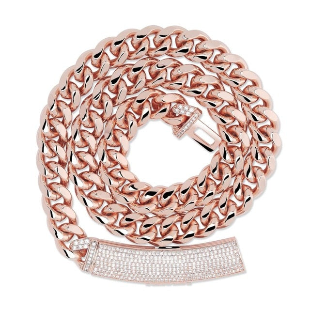 Rose Gold Box Clasp Micro Pave Link Necklace & Pendant - MajesticVUE