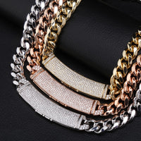 Gold, Rose Gold & Silver Box Clasp Micro Pave Link Necklace & Pendant - MajesticVUE