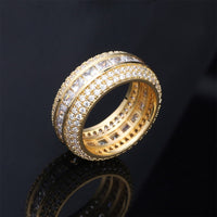 Baguette Zircon  Copper Material Charm Gold Silver Men's Ring