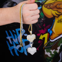Gold & Silver Iced Out Cubic Zircon Heart Necklace & Pendant - MajesticVUE