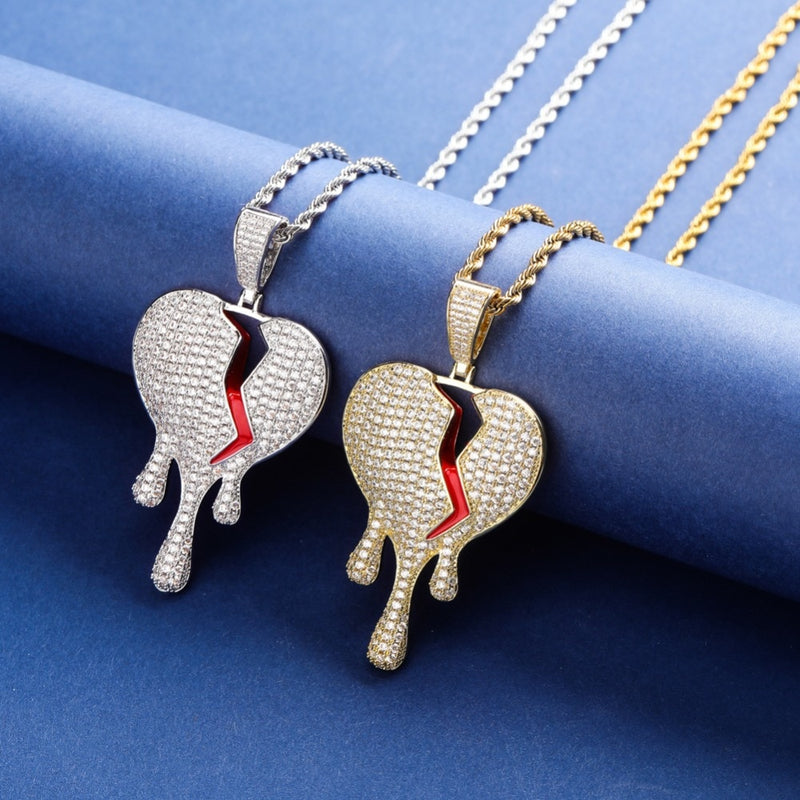 Red oil Drip Heart Necklace & Pendant