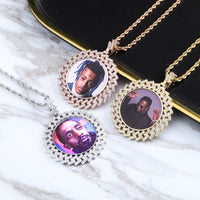 Gold, Rose Gold & Silver Photo Round Medallions Necklace & Pendant - MajesticVUE